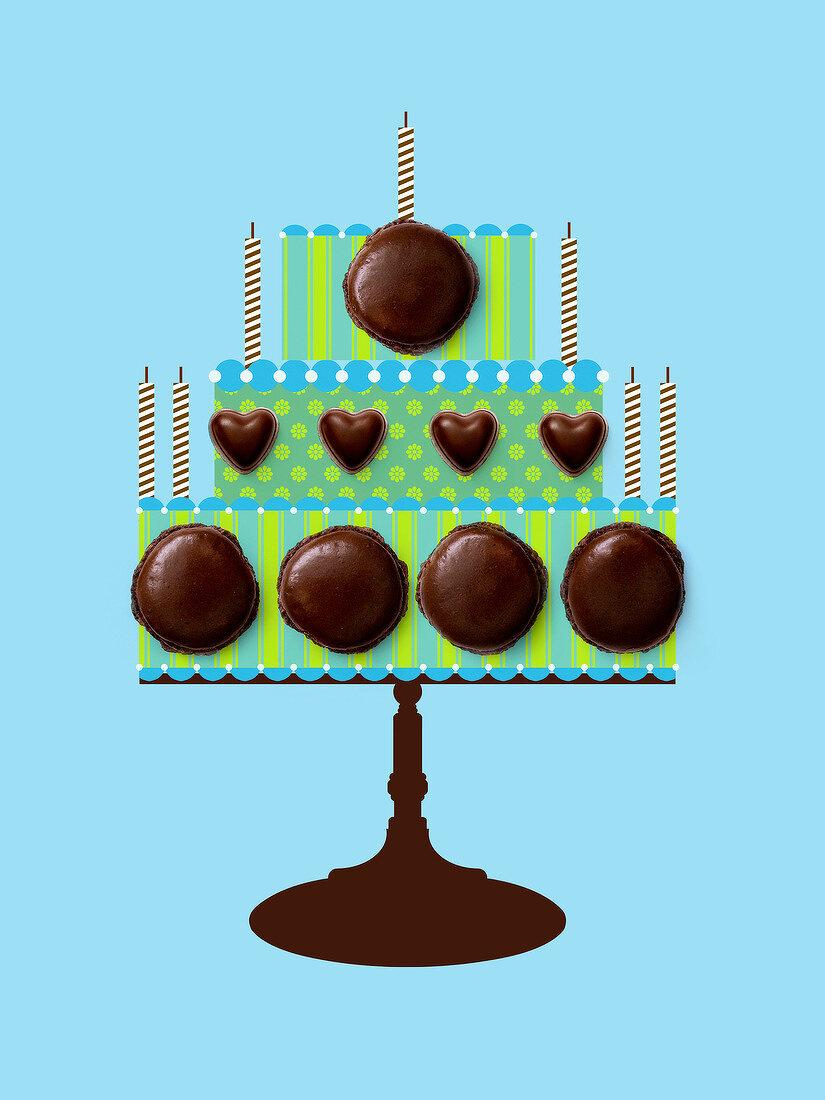 Birthday cake pattern made with chocolate macaroons
