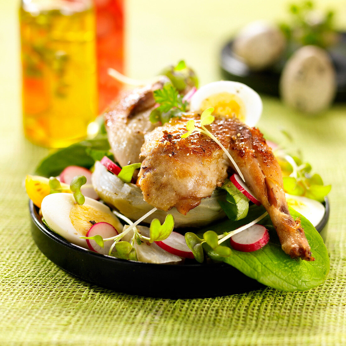 Confit quail with artichoke bases,radishes and hard-boiled eggs