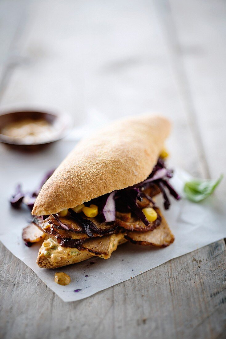 Turkey and red cabbage kebab sandwich