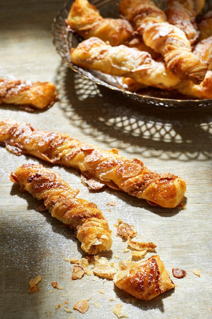 Apple-cinnamon fruit paste braided flaky pastry sticks