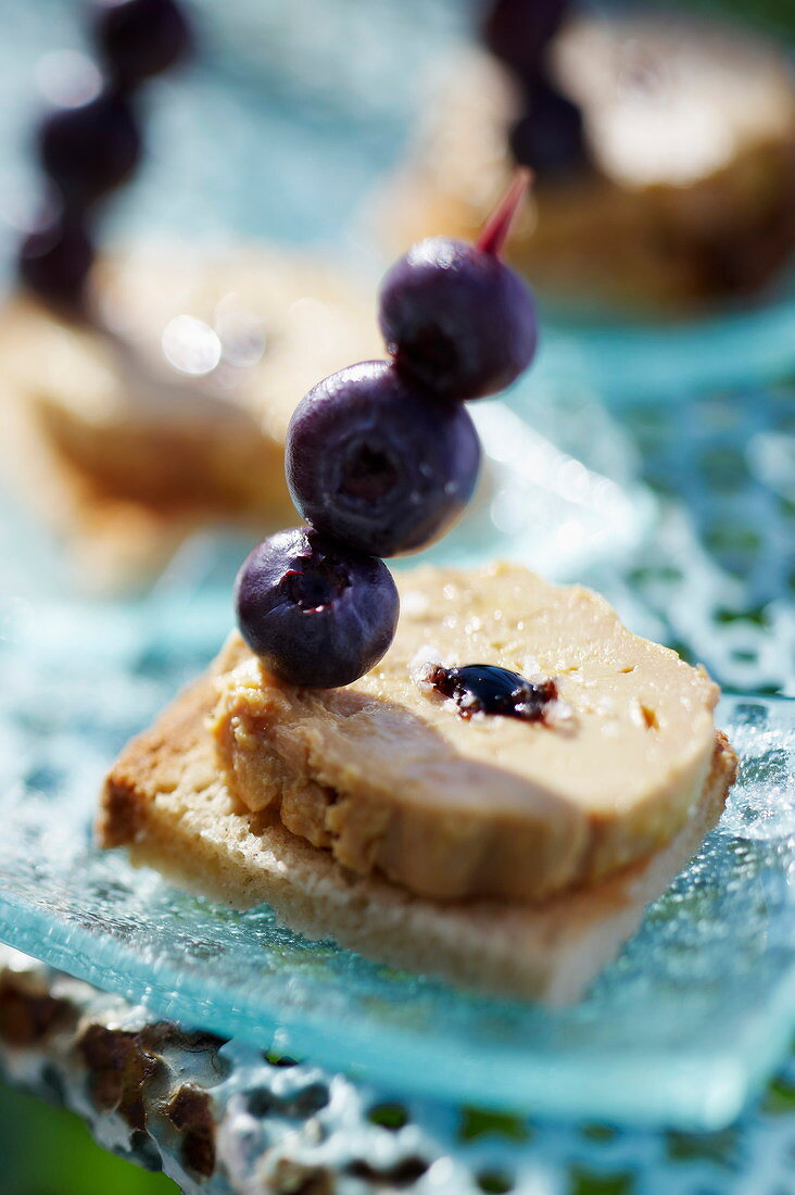 Vin de Paille and cornflower duck foie gras