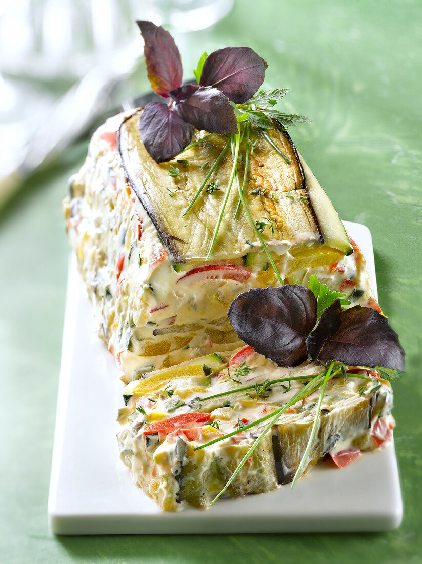 Grilled vegetable and cream cheese terrine