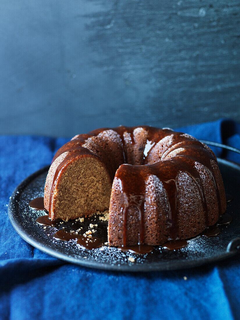 Walnut crown cake coated in caramel