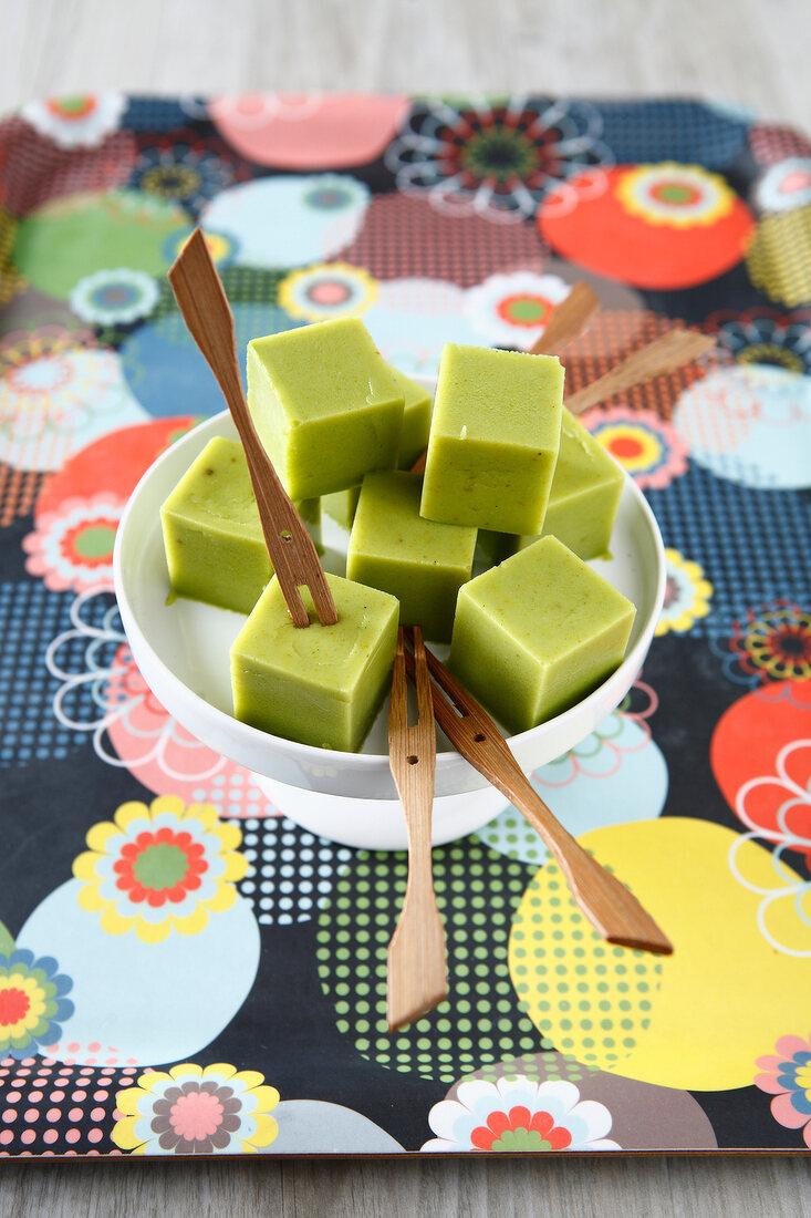 Pureed zucchini cubes