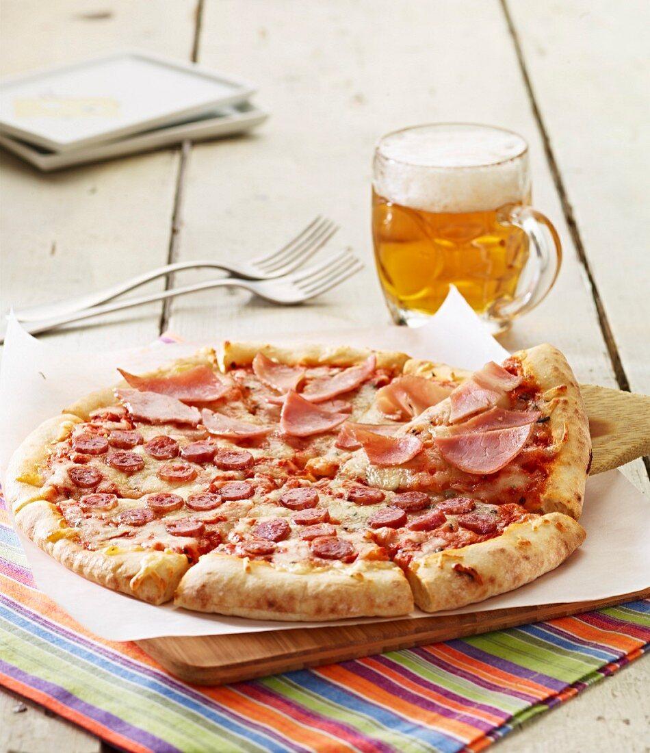 Ham and Chorizo pizza
