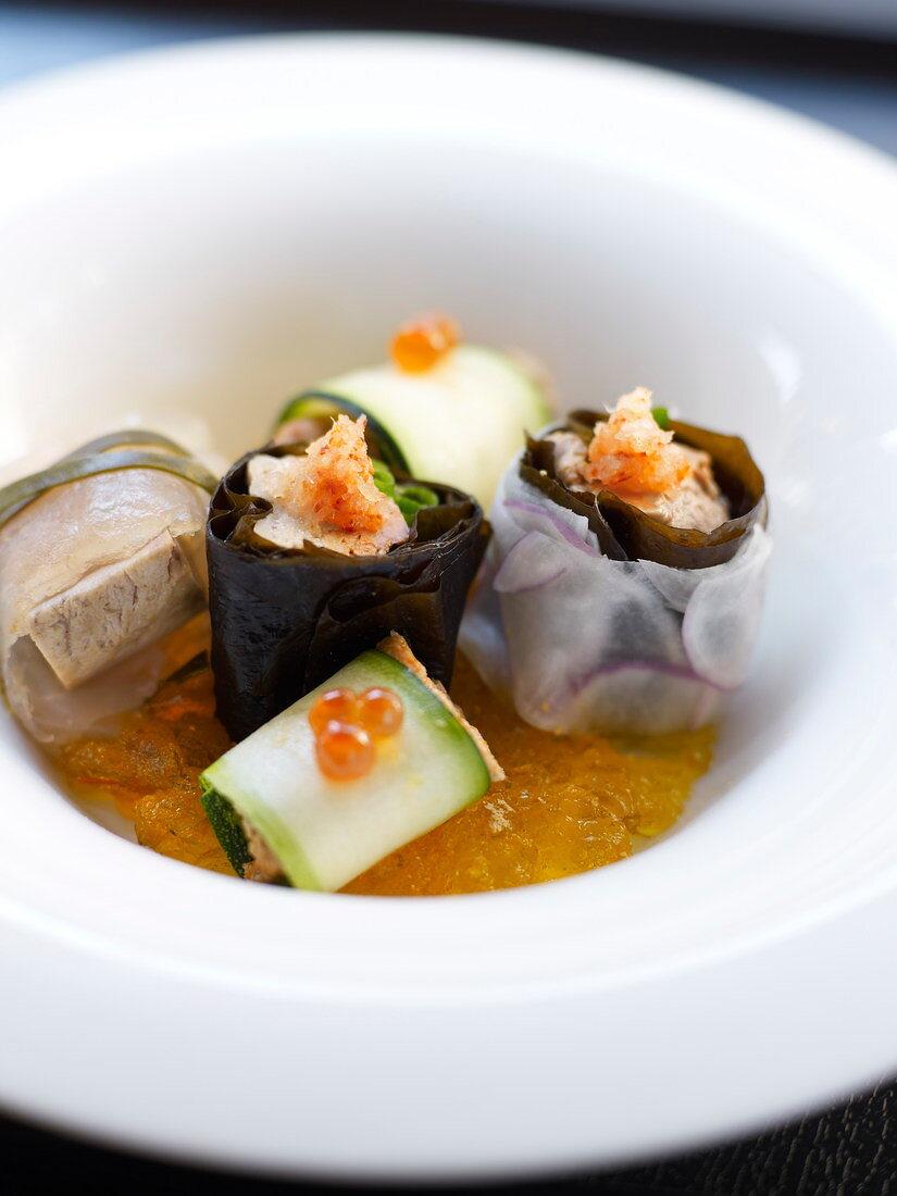 Monkfish liver and turbot fresh wakme seaweed rolls