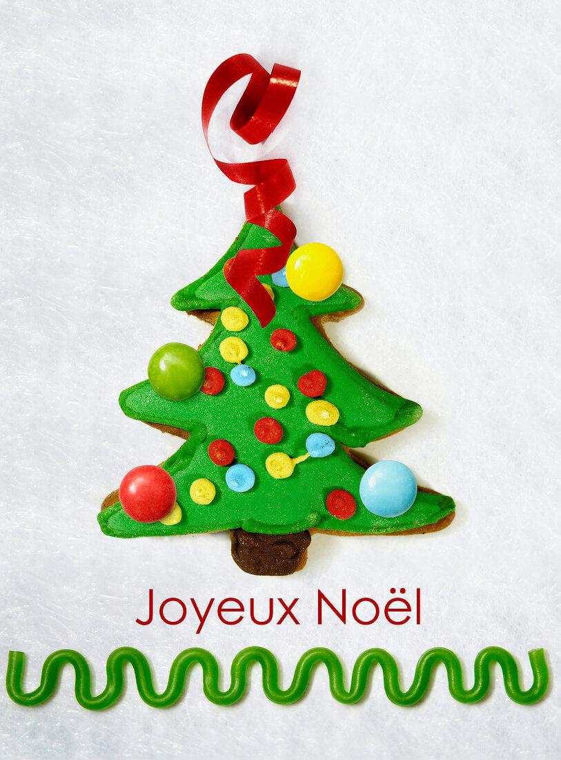 Christmas card with a christmas tree