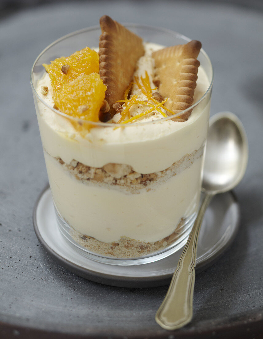 Orange mousse and crushed rich tea biscuit dessert