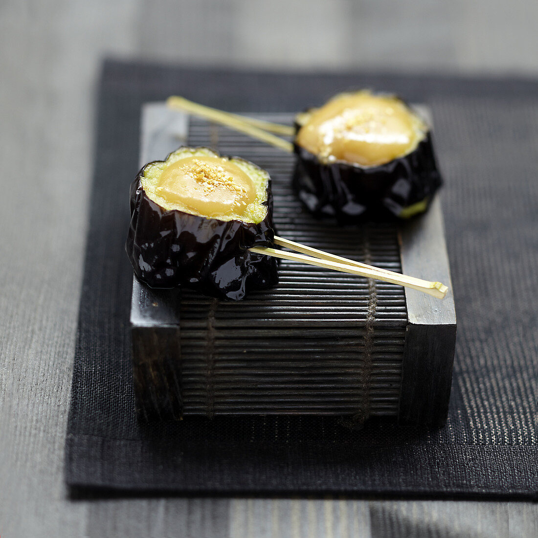 Eggplant Yakitoris with miso sauce