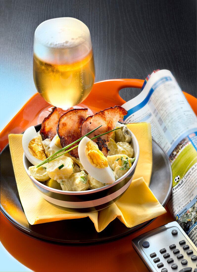 Germany :Potato,mild gherkin,bacon and hard-boiled egg salad