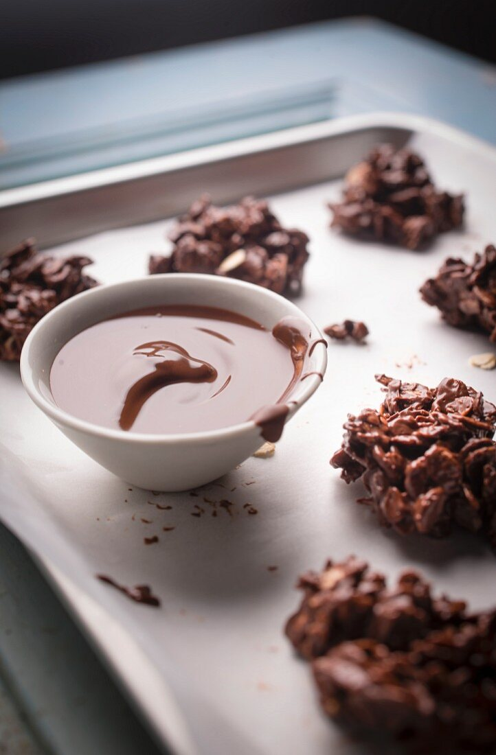 Chocolate granola cookies with melted Nutella