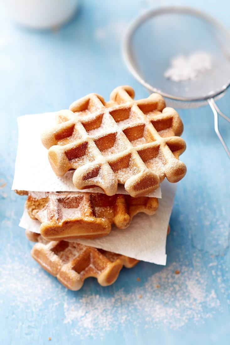 Belgium wafles coated with icing sugar
