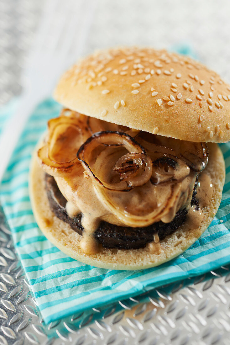 Mountain black pudding and flambeed apple burger