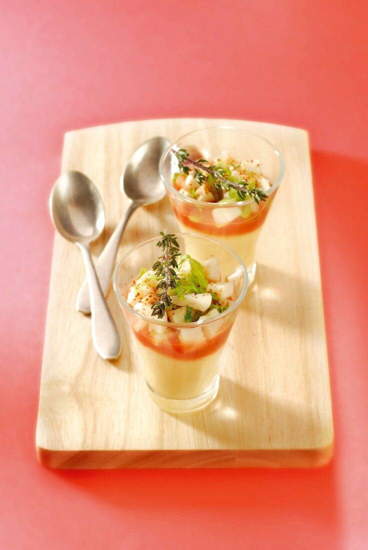 Cream cheese mousse with tomato coulis and diced apple
