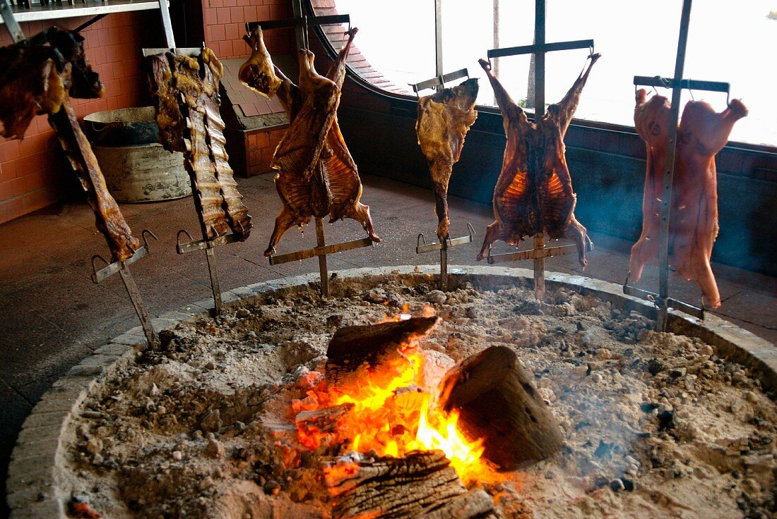 Traditionaly cooking meat in Buenos Aires