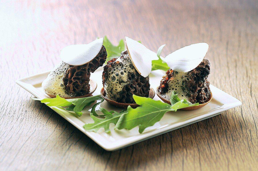 Mini creamy morel and button mushroom flake appetizers