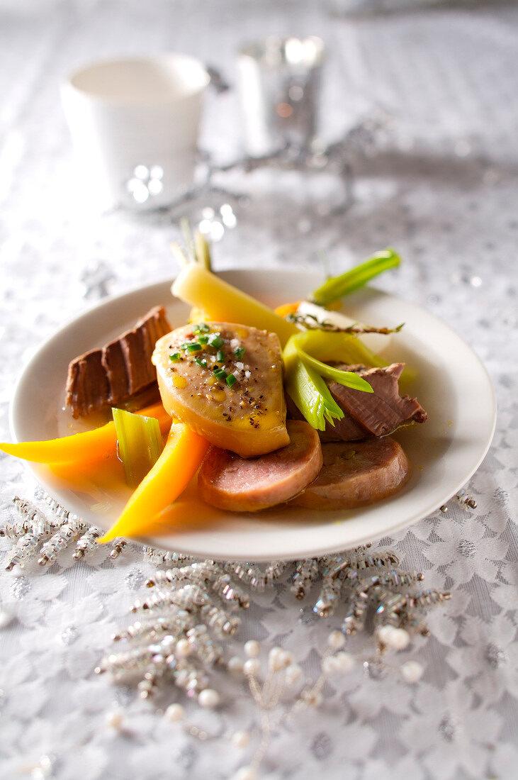 Pot-au-feu with foie gras and cooked saussage