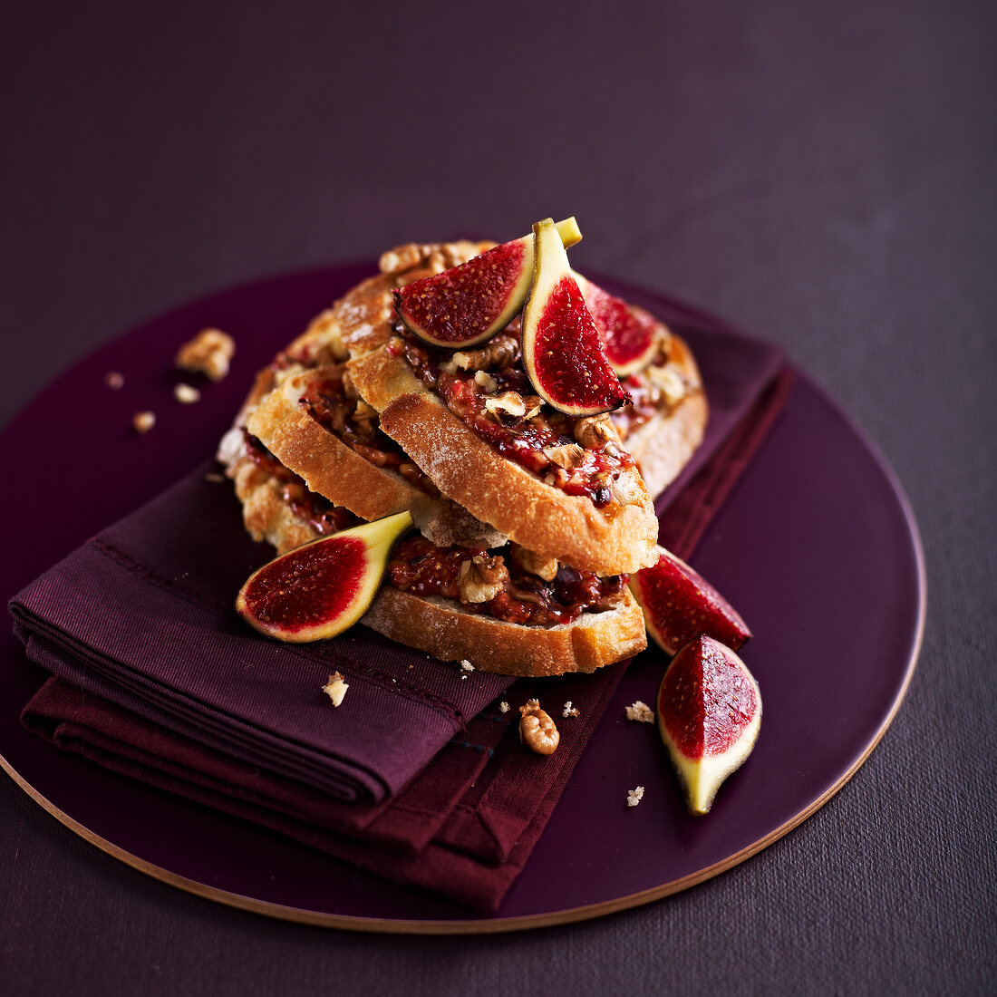 Fig and walnut open sandwiches