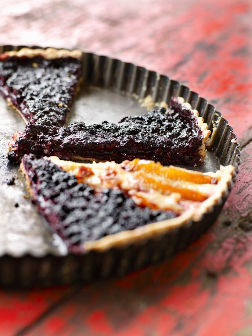 Portions of bilberry pie and one portion of apricot pie