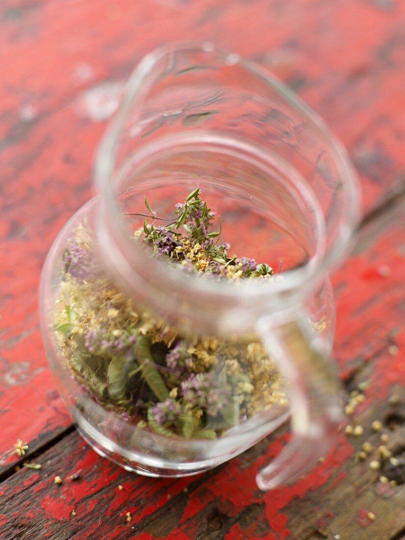 Mixing mountain herbs foe an infusion