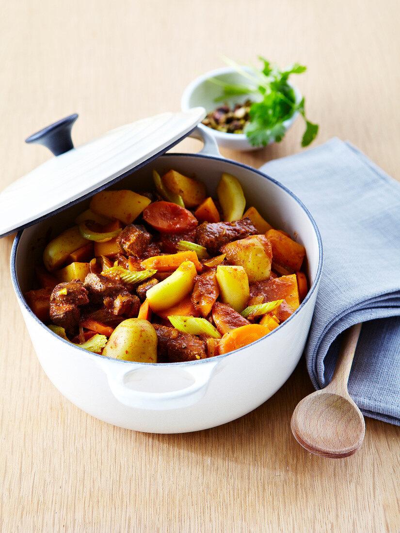 Spicy beef, potato, celeriac, carrot and zucchini casserole