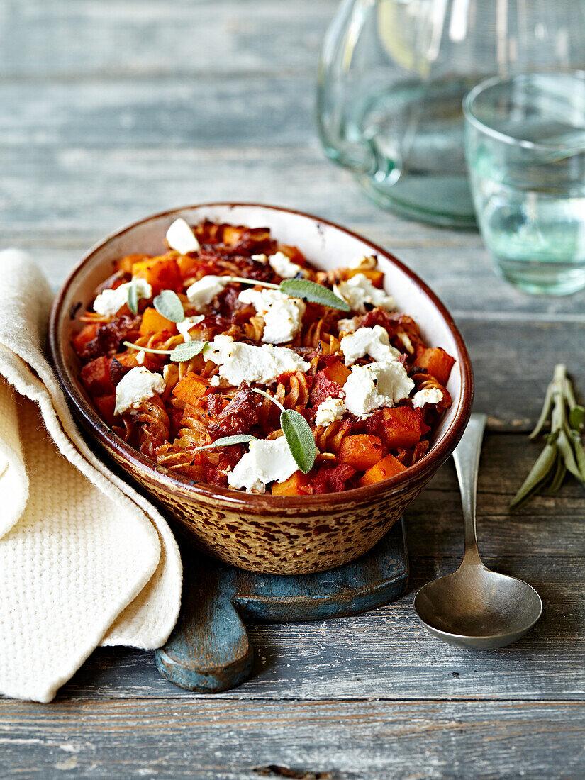 Fusillis,diced pumpkin,confit tomato,fresh goat's cheese and sage gratin