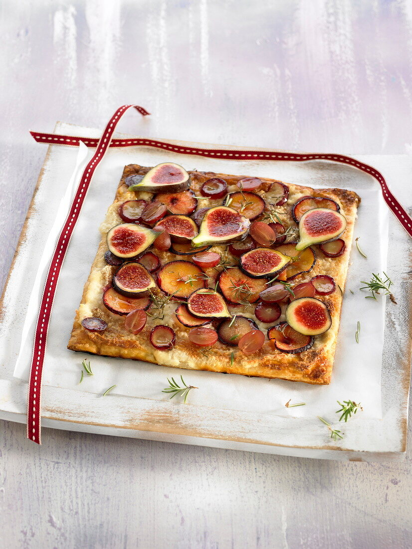 Autumn fruit flaky pastry tart