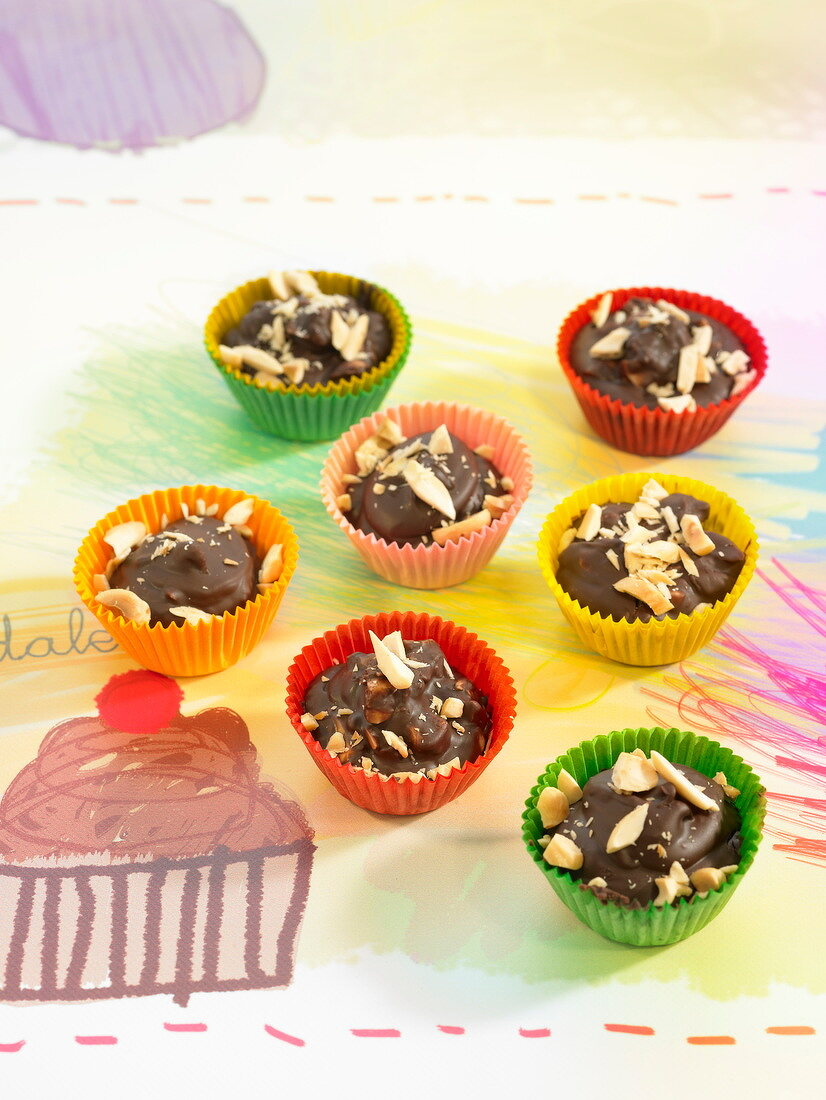 Homemade almond chocolates