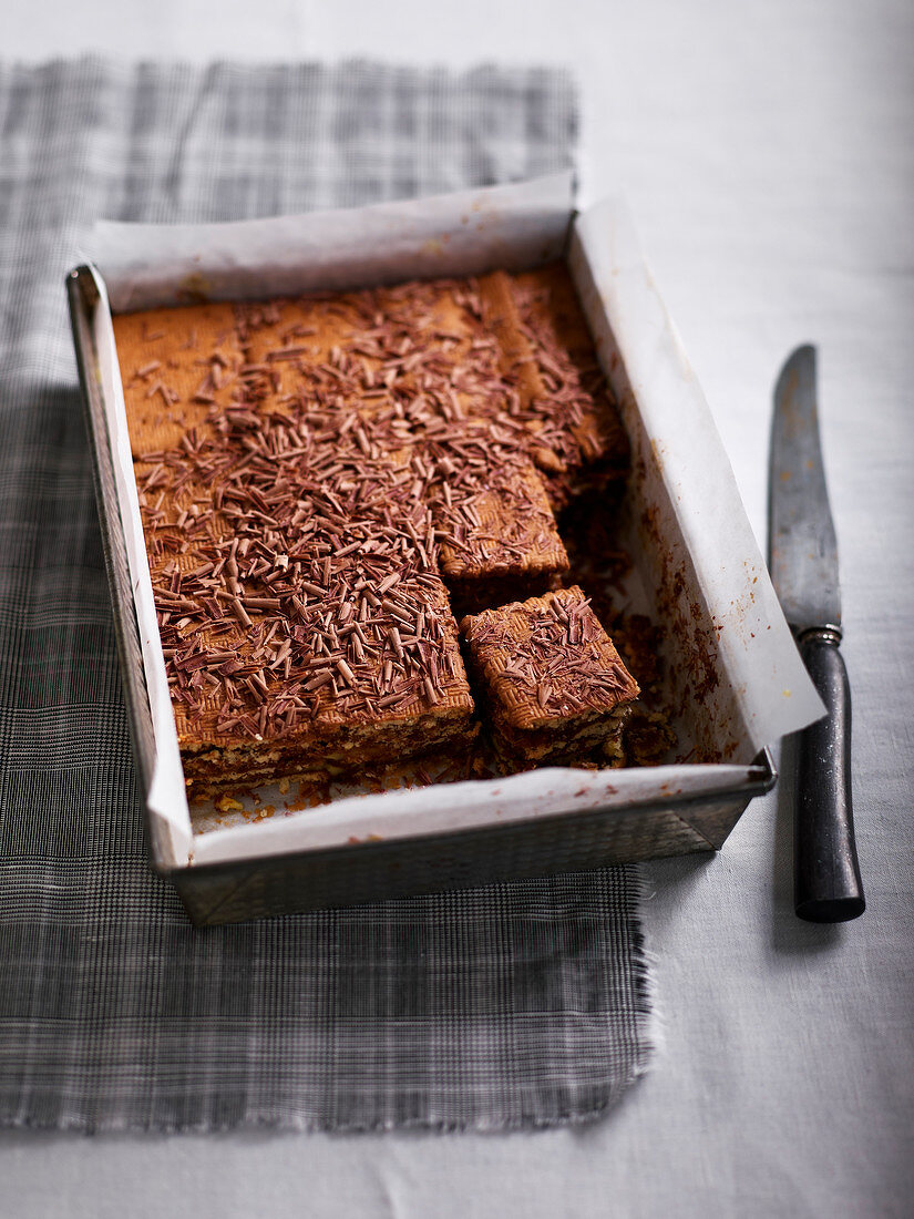 Tiramisu-style chocolate and rich tea biscuit cake