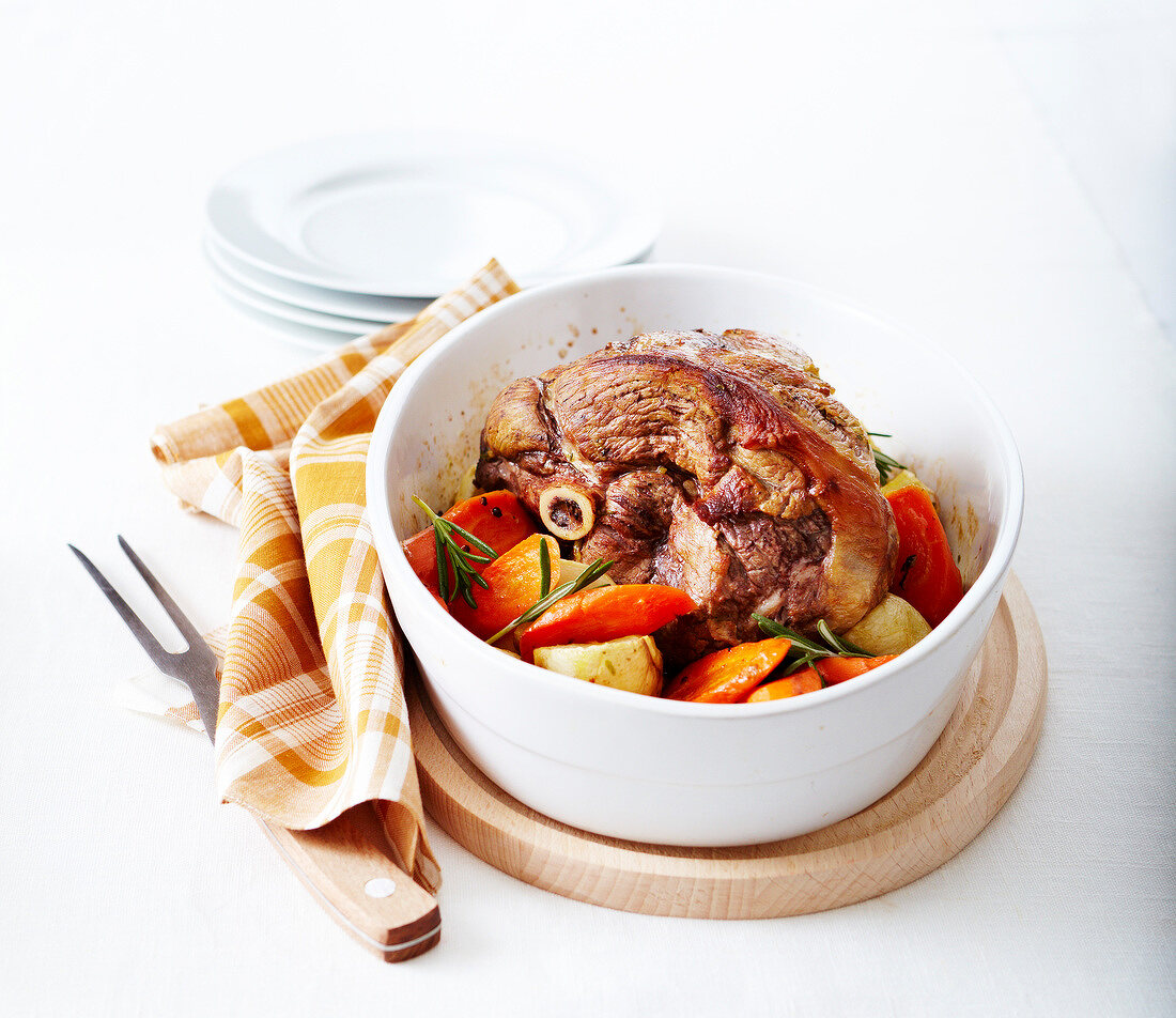 Oven-roasted thick round lamb fillet with turnips