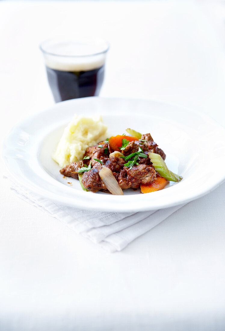Beef sauteed with brown ale and vegetables