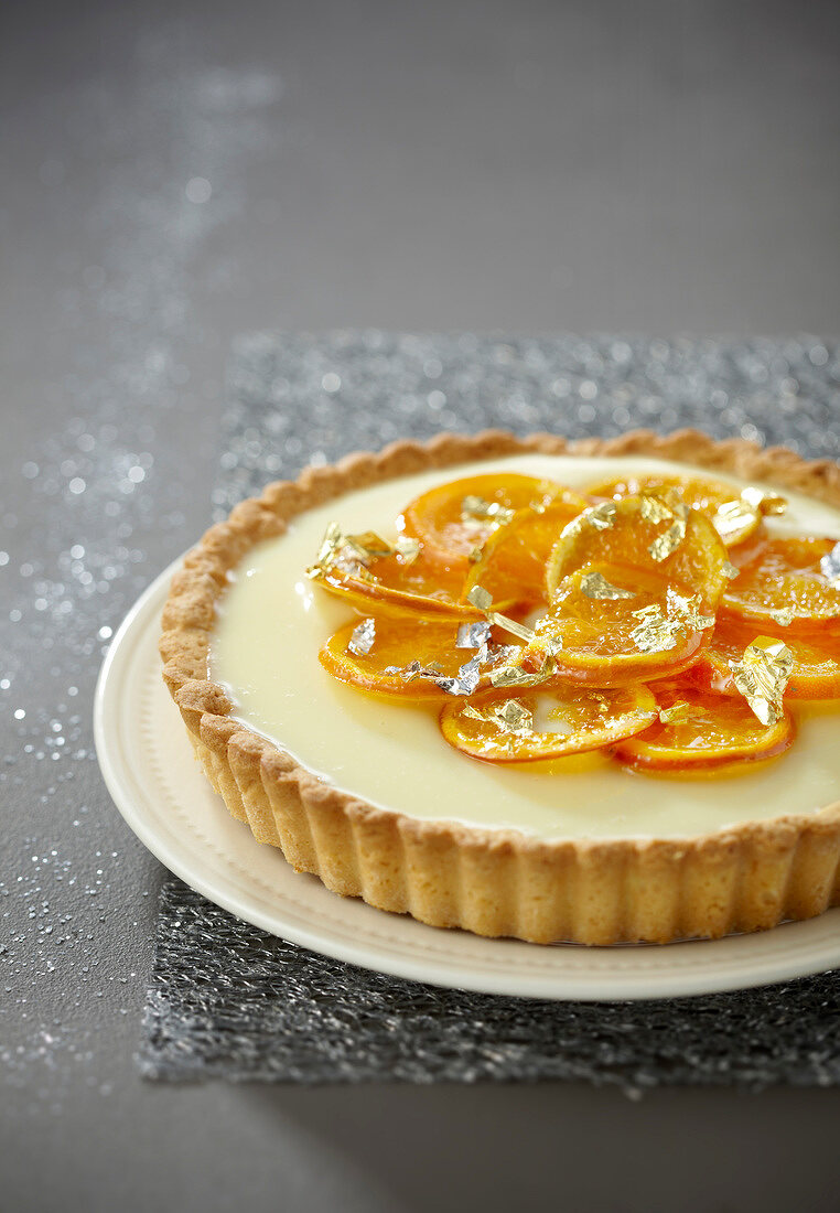 Confit mandarin and white chocolate pie
