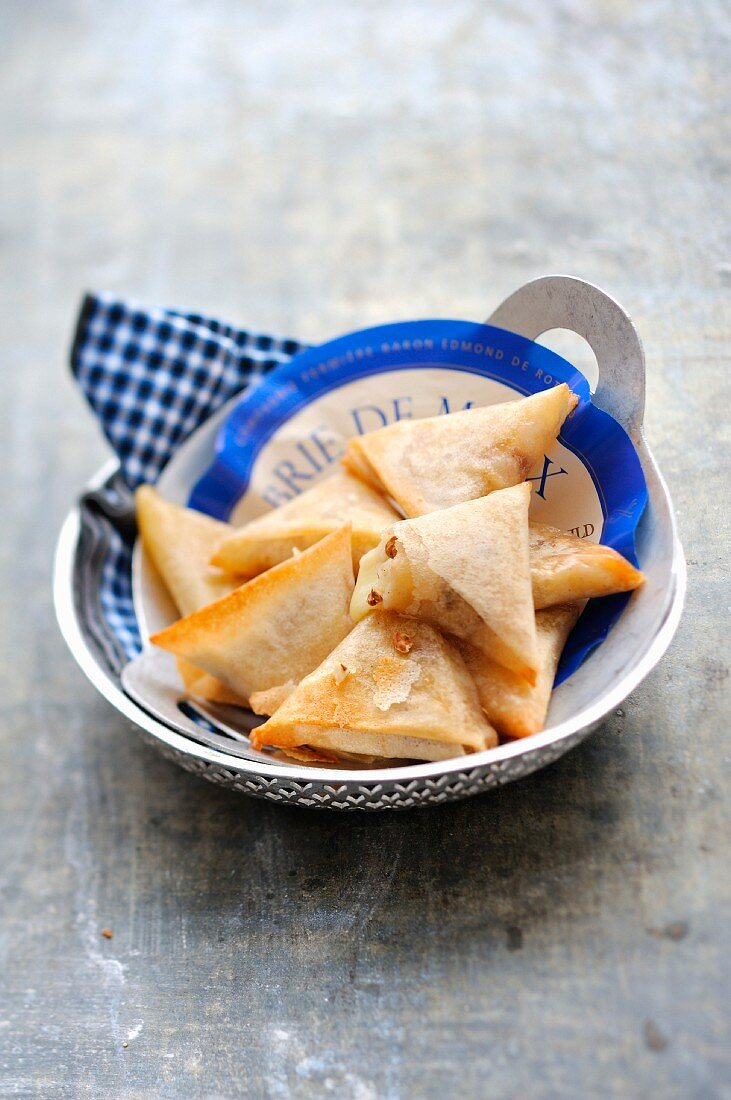 Small Brie filo pastry triangle pies