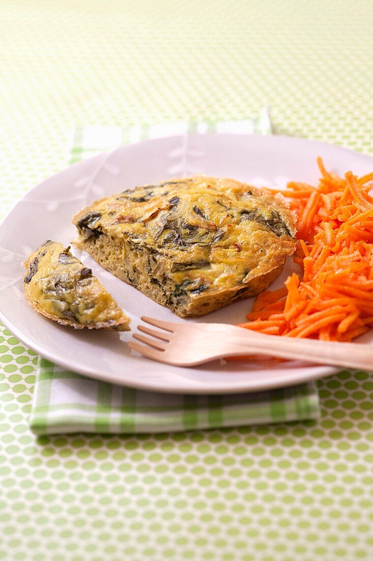 Oven-baked dill omelette,grated carrots with orange