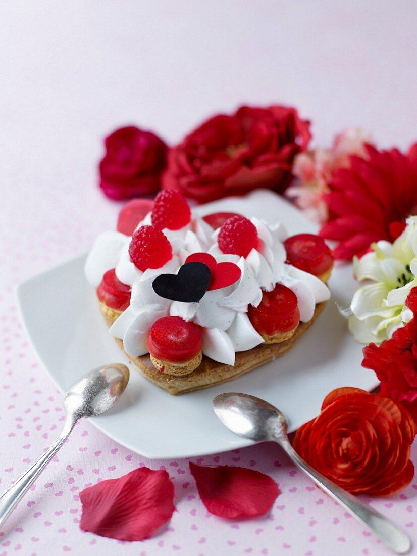 Raspberry and whipped cream crisp heart