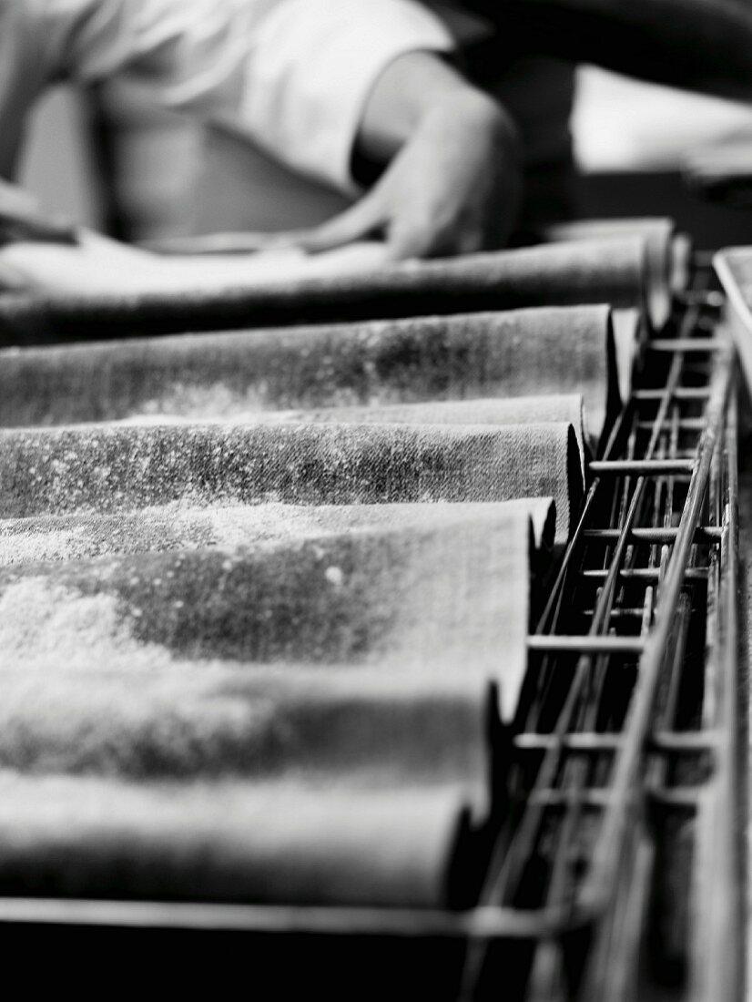 Person preparing bread