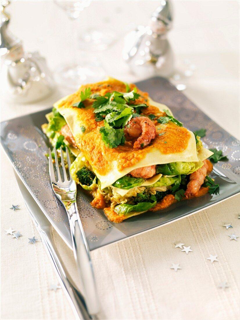 Shrimp and vegetable lasagnes