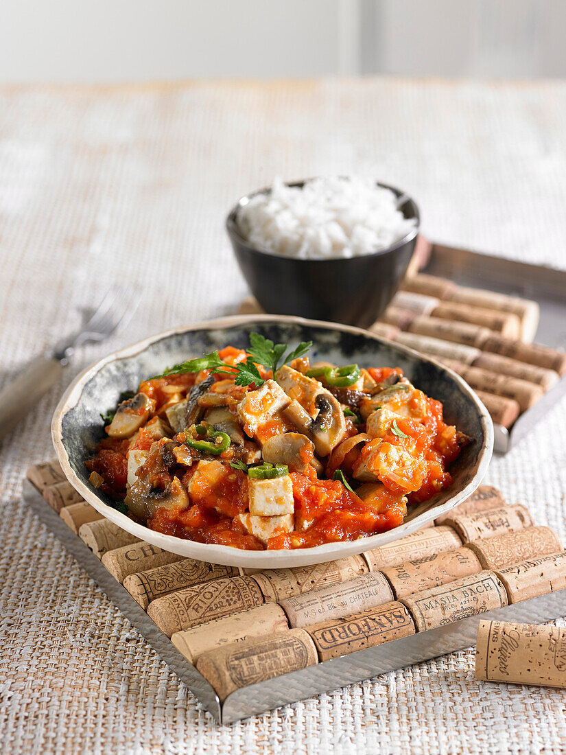 Vegetable Strogonoff with tofu, tomatoes, peppers and onions