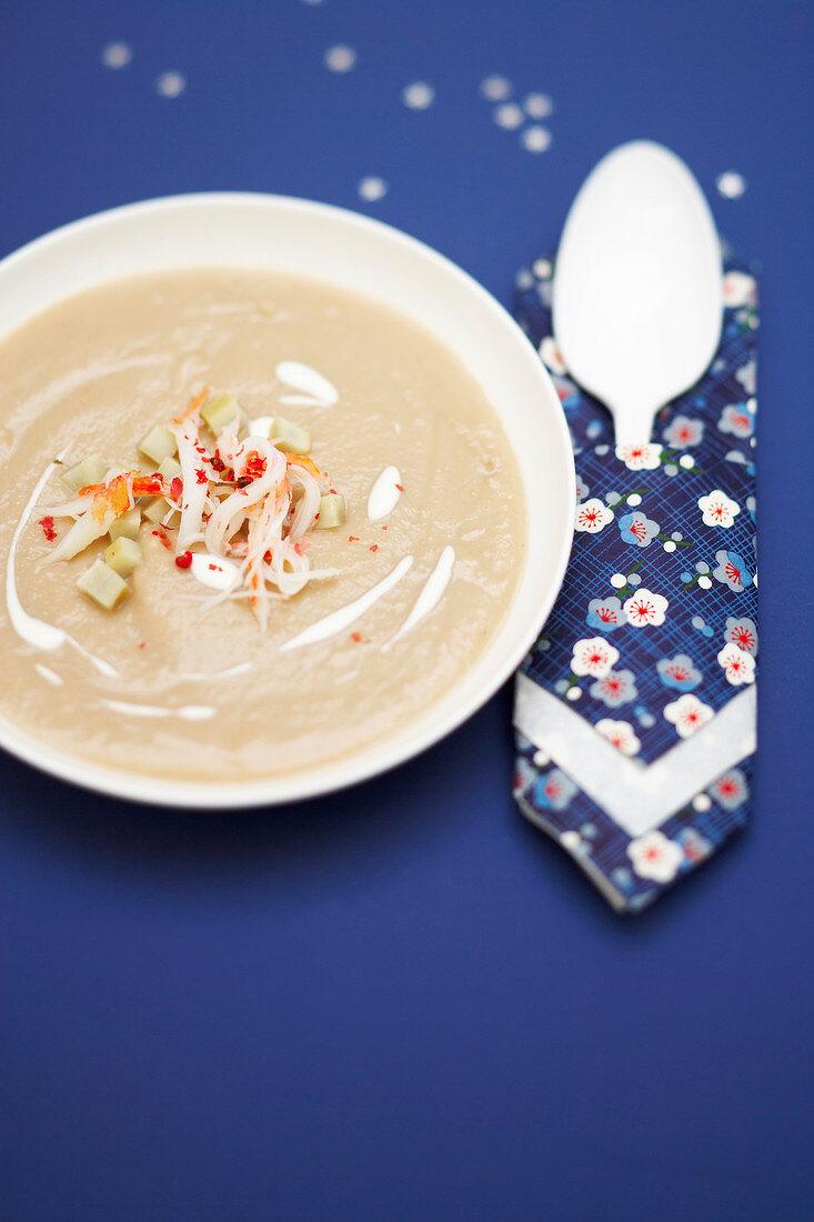 Cream of artichoke soup with crab