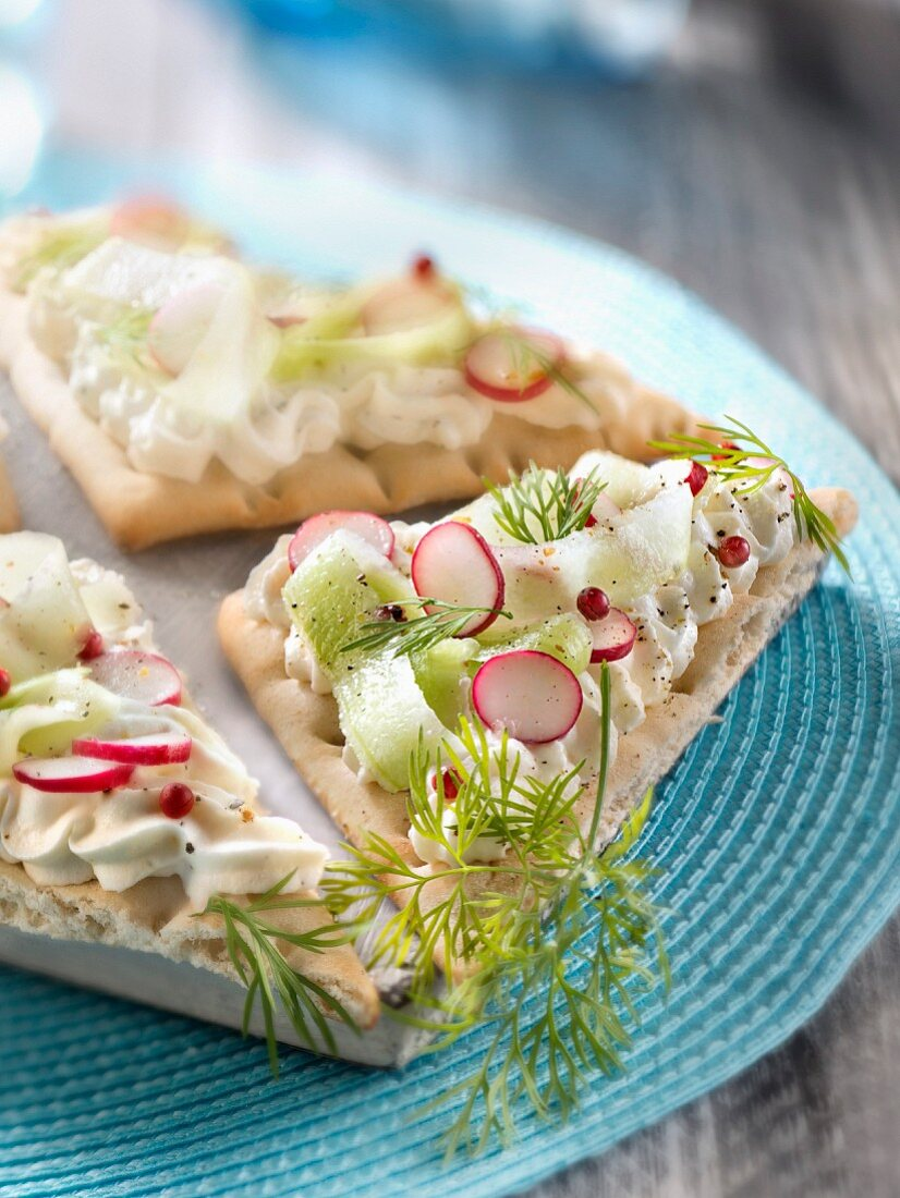 Philadelphia cheese mousse,radish and cucumber sweedish bread sandwich