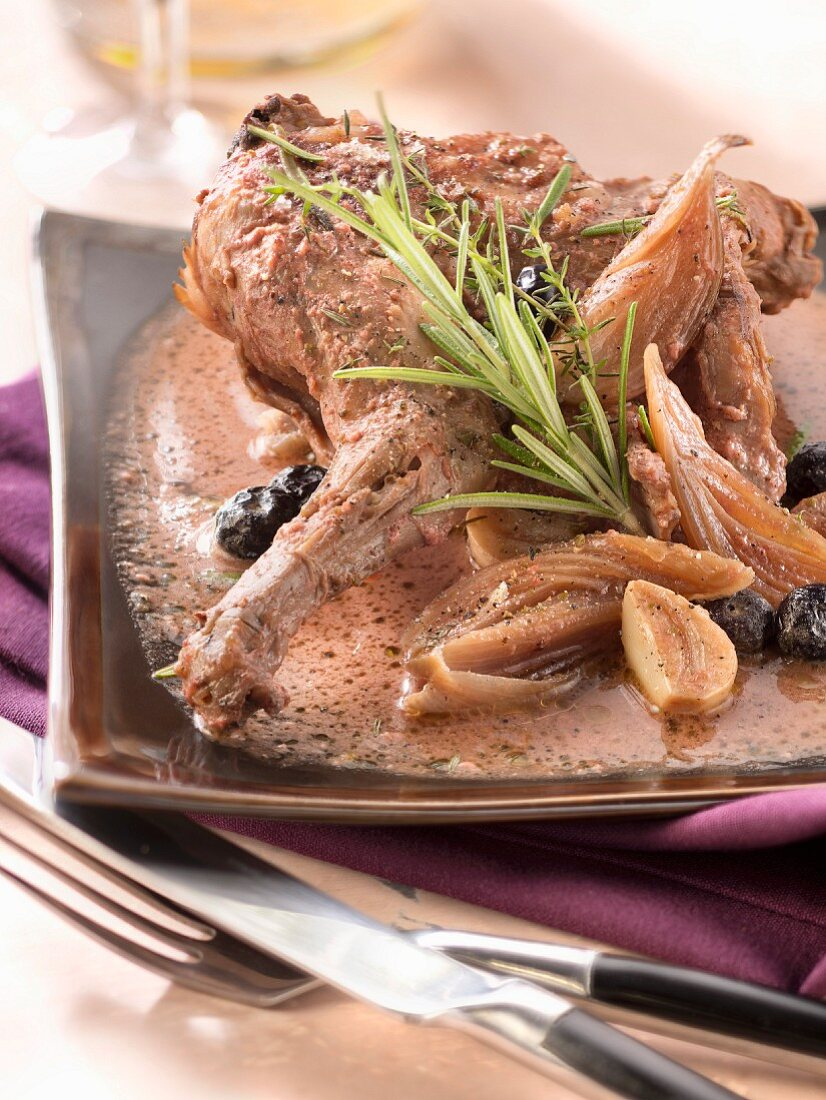 Rabbit in mustard and blackcurrant sauce