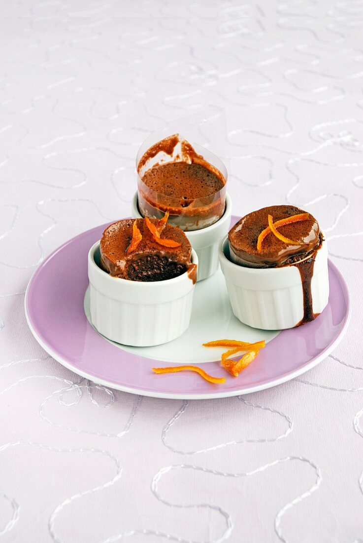 Chocolate-almond and orange zest soufflés