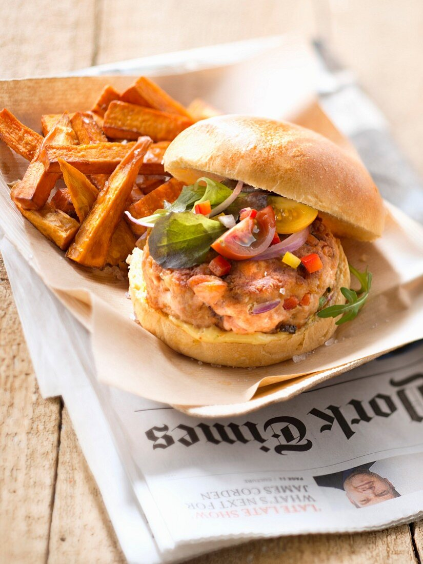 Salmon burger with sweet potato french fries