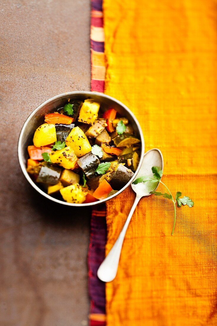 Aloo began (potato and aubergine curry, India)