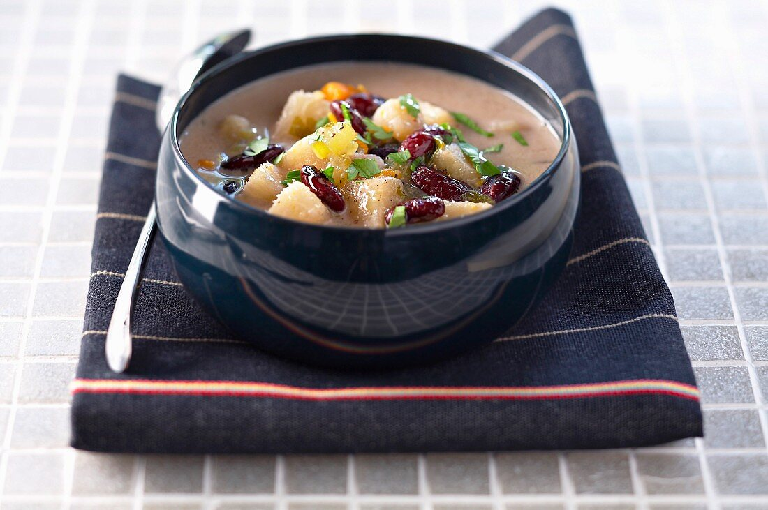 Red kidney bean and Jamaican yam soup