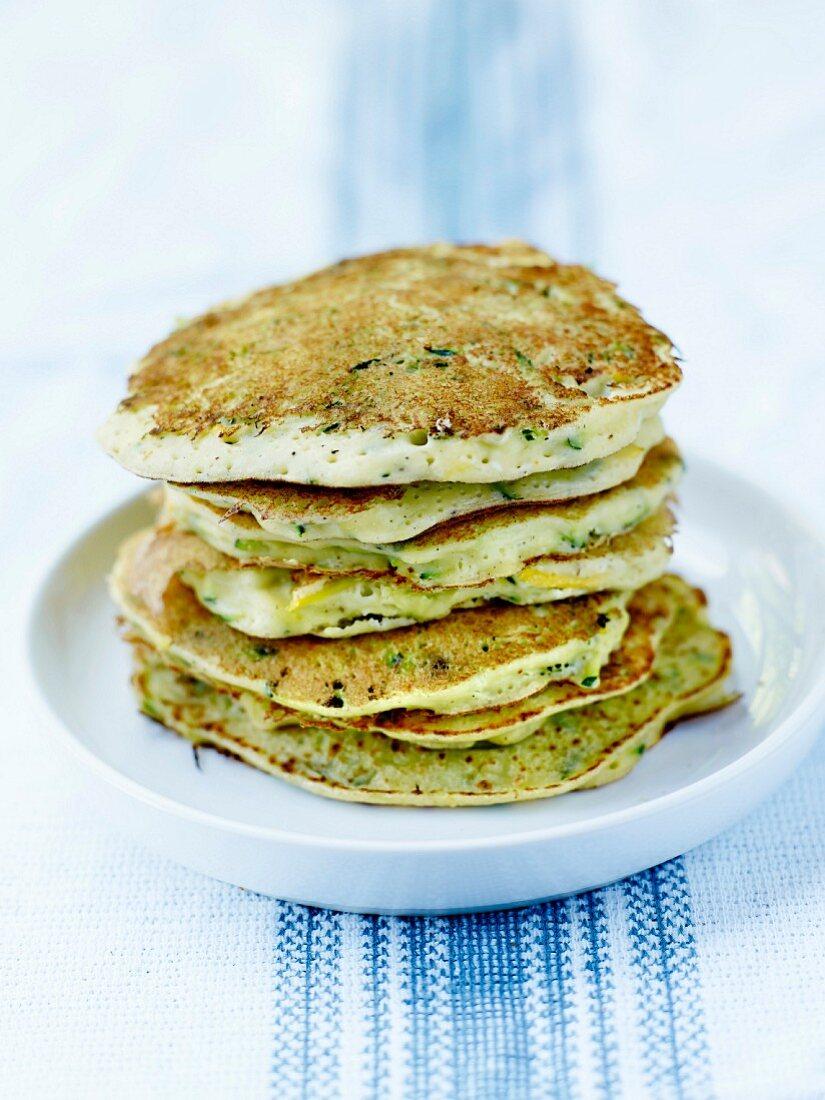 Green and yellow zucchini and ricotta pancakes