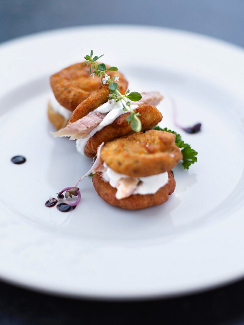 Fried chickpea patties with smoked hake and ricotta