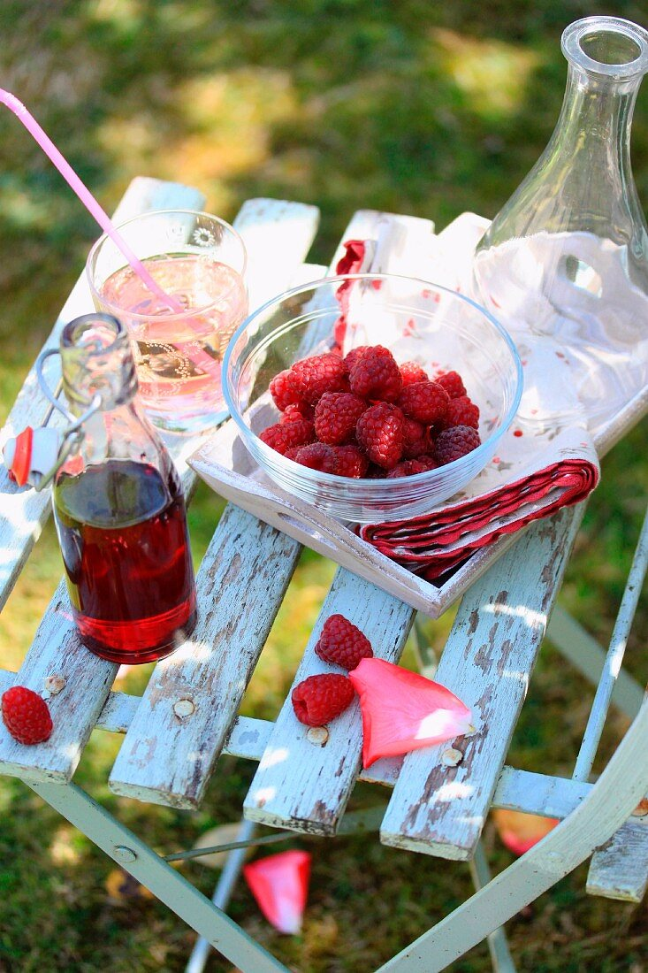 Raspberry juice in the garden