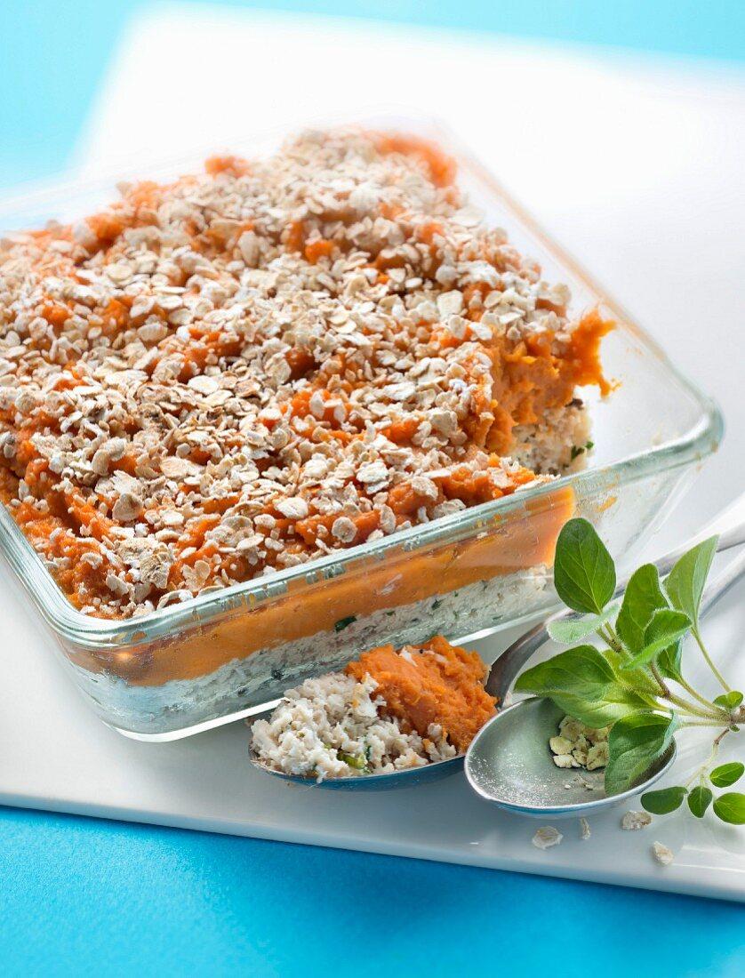 Ground chicken breast and sweet potato mash bake