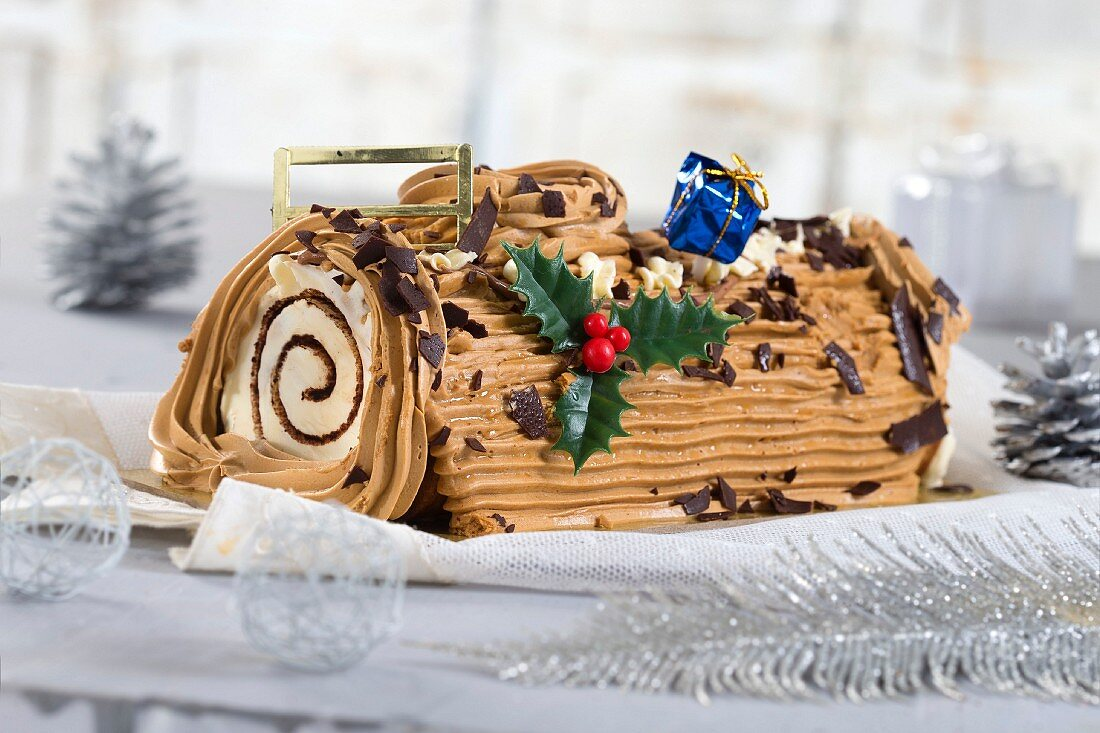Christmas coffee log cake